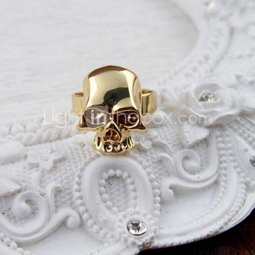 anel de caveira ajustável ouro
