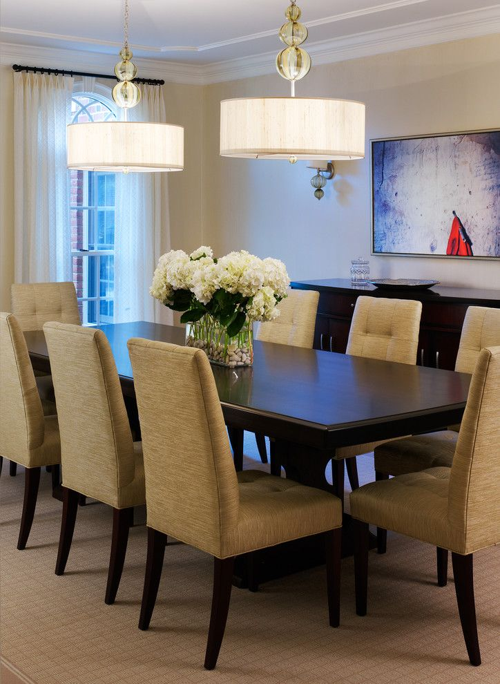 Inspired Hydrangea Centerpieces In Dining Room Transitional With