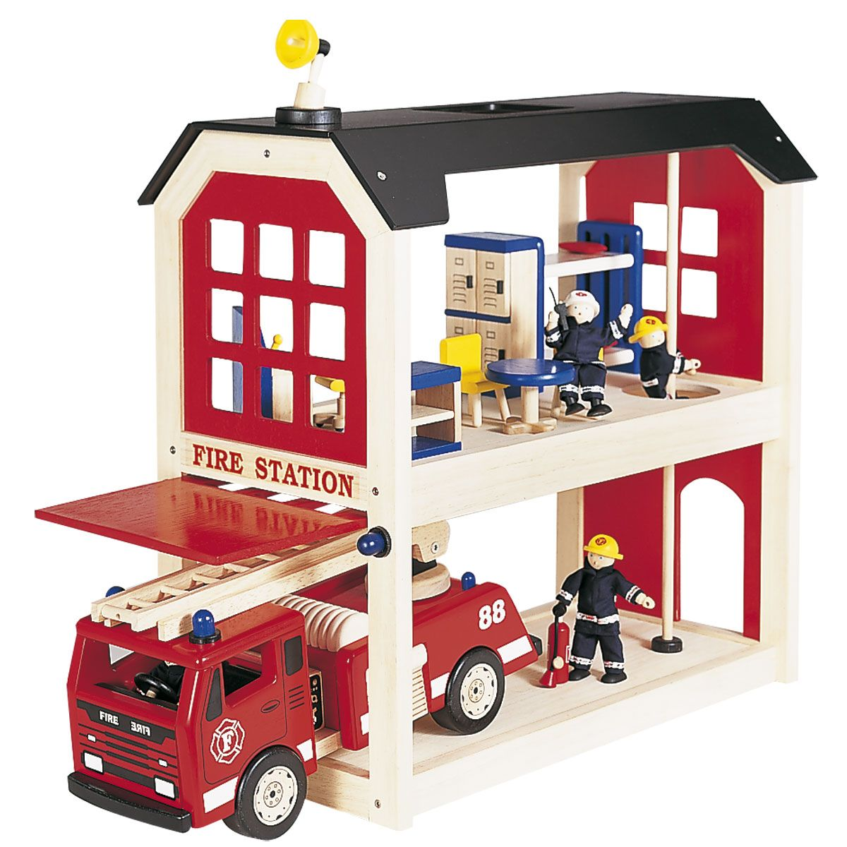 Fire Station Wooden Toys For Children Fire Station