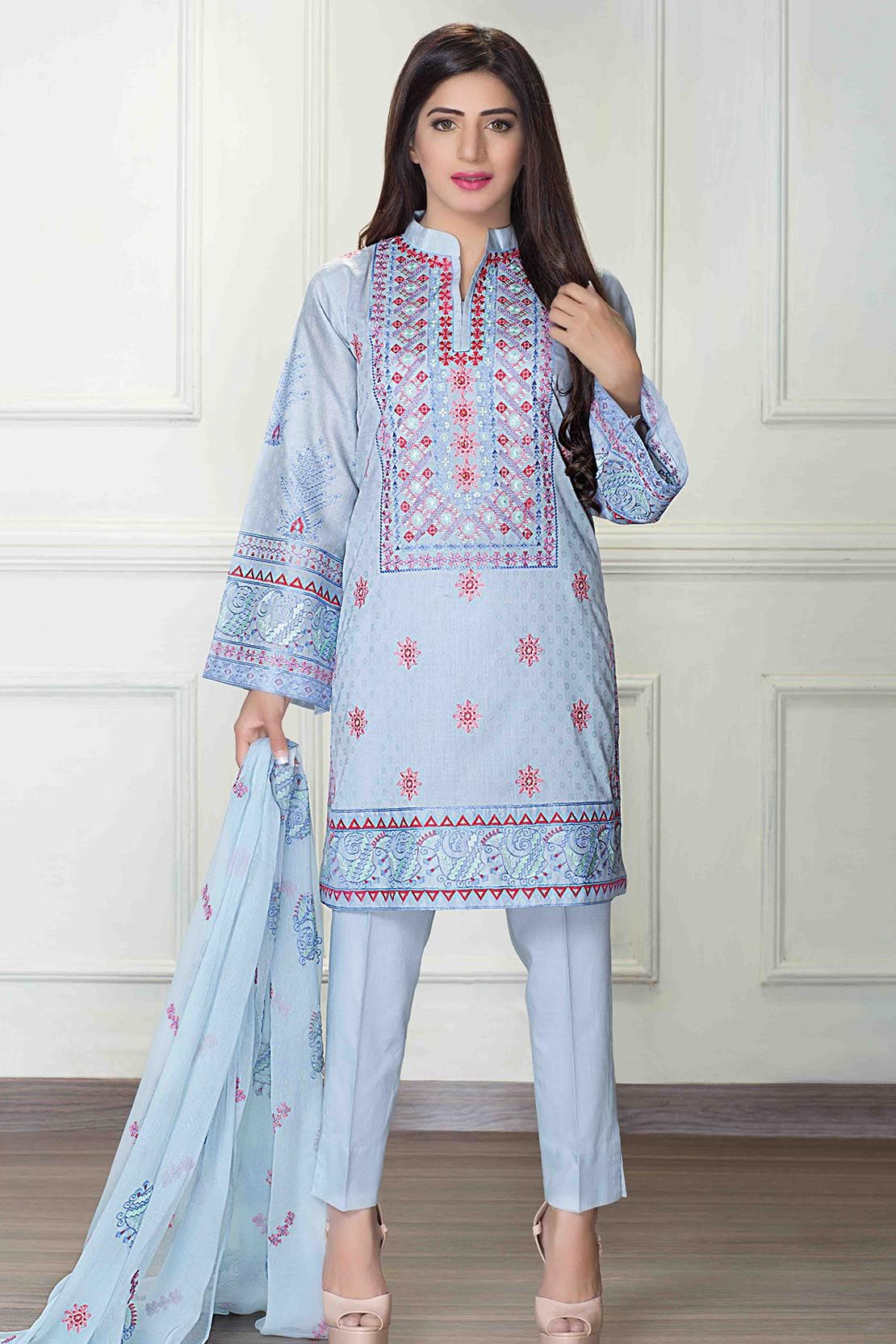 Other Women's Clothing Clothing, Shoes & Accessories Bright Blue Pakistani Designer Sharara Suit Traditional Suit Fancy Trendy Dress Suit Exquisite Traditional Embroidery Art