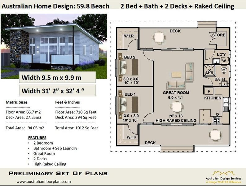 Easy Build Kit Home House Plan For Sale 2 Bedroom Raked Etsy In 2021 House Plans For Sale Small House Floor Plans House Plans