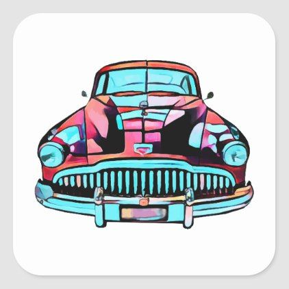 Red Classic car abstract modern art Square Sticker | Zazzle.com