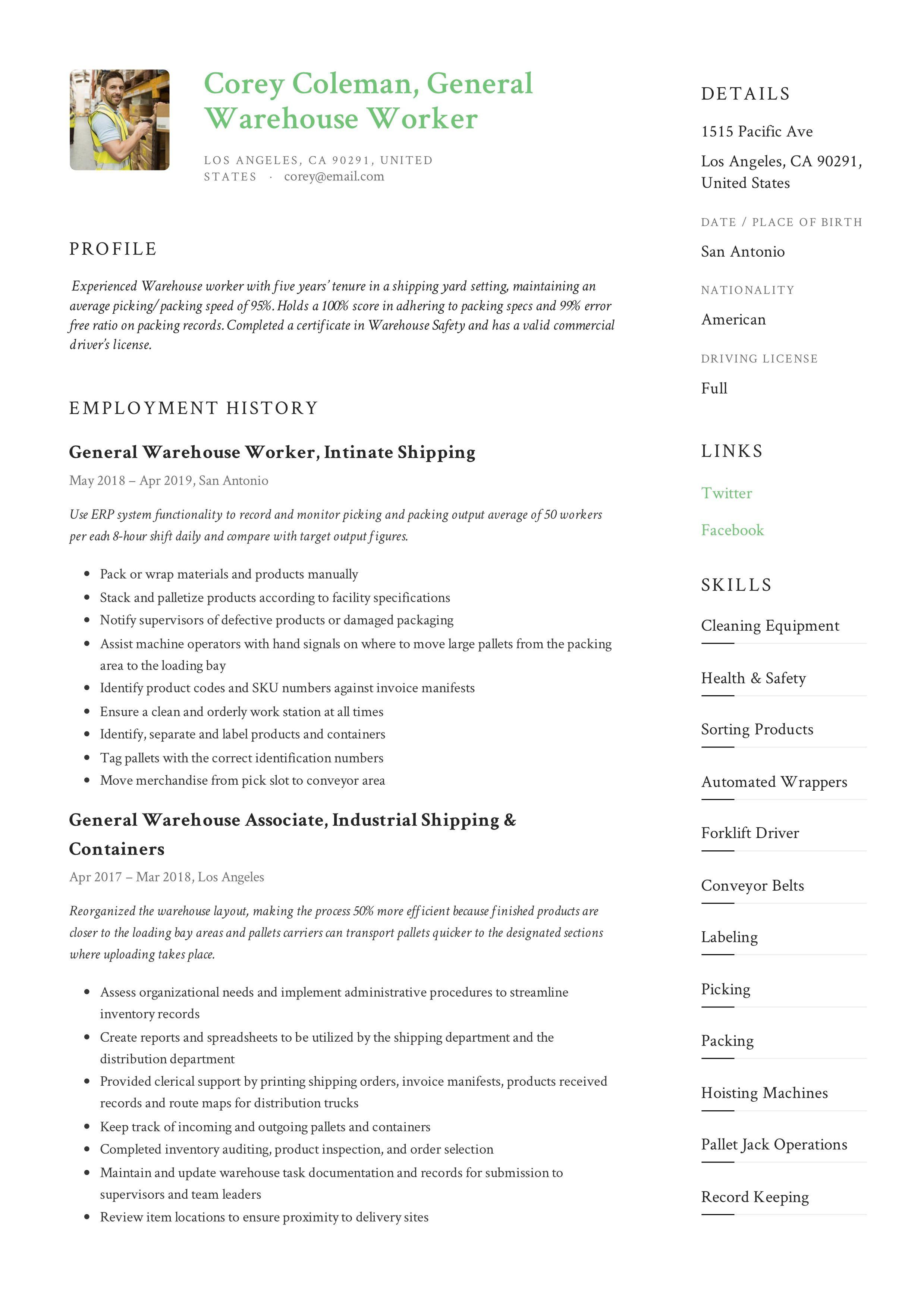 General warehouse worker resume example in 2020 resume