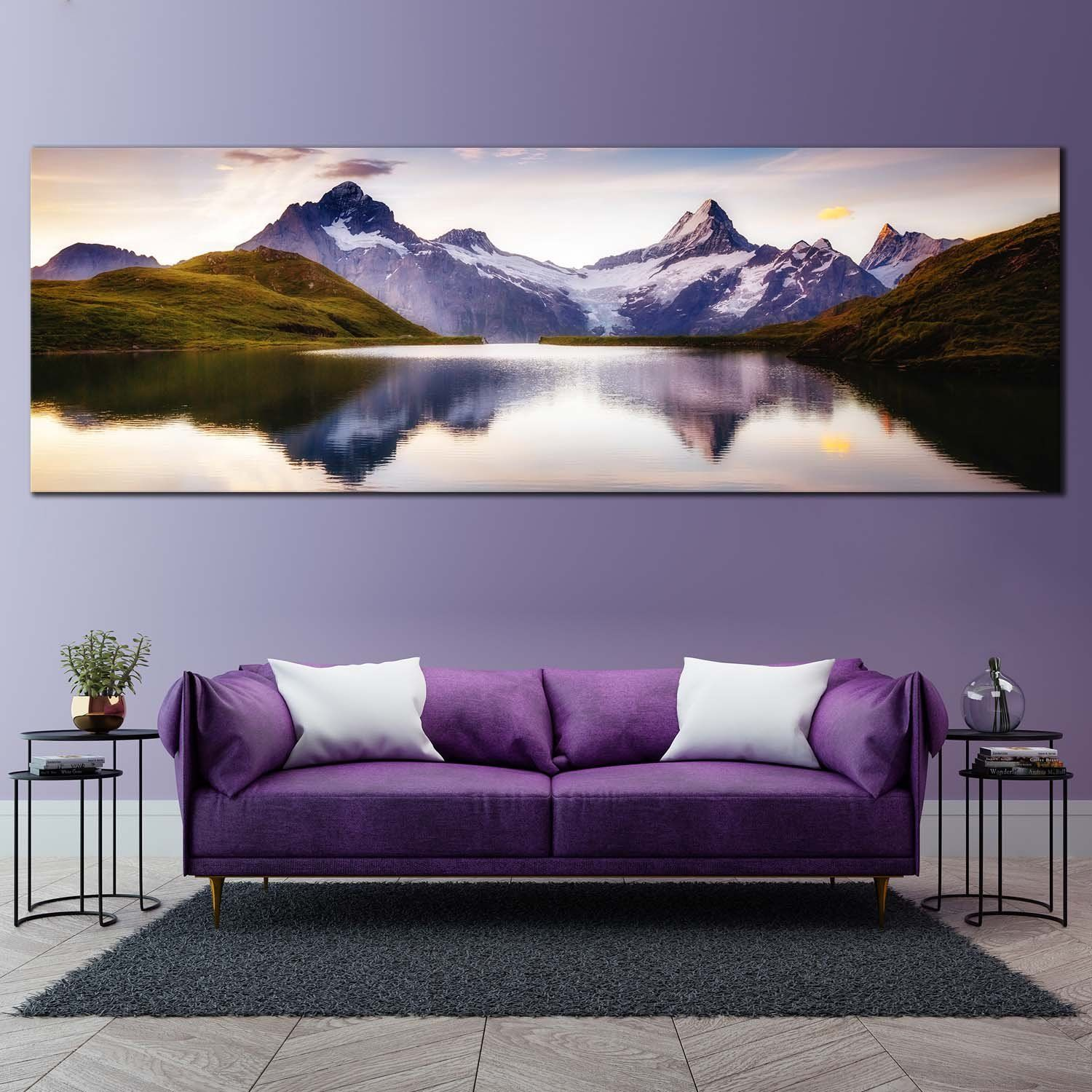 Purple and Gold Marble textures  Panoramic Canvas Wall Art Picture Print