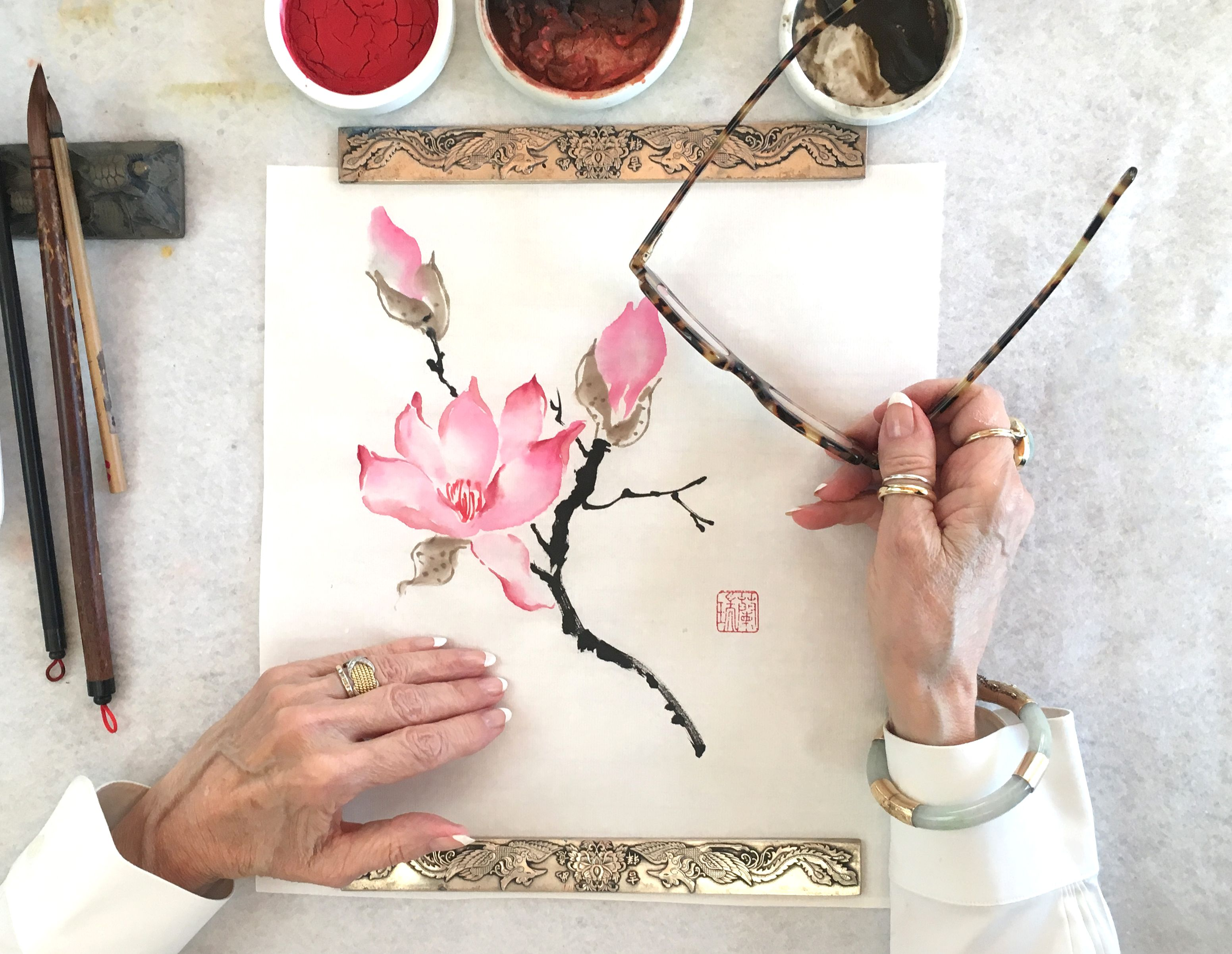 The Chinese Magnolia An Original Brush Painting By Nan Rae Floral Painting Painting Supplies Painting