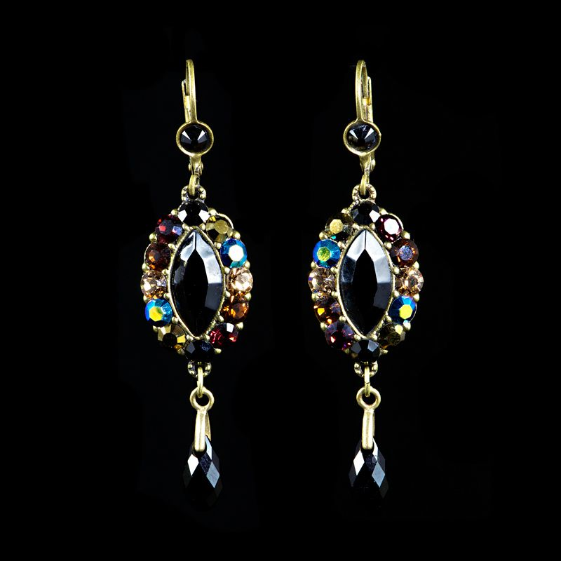 Michal Negrin Black Jet & Bronze Drop Earrings (15707 24) | Alexandra May