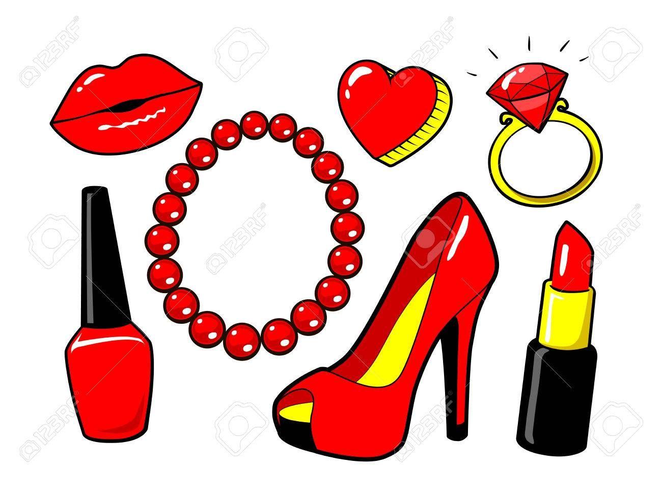 Labios Rojo Beso Esmalte De Unas Lapiz Labial Corazon Anillo Diamand Zapato Para Mujer Collar De Perlas Maquillaje Estilo De Moda Vector Elementos De Dibujos De Labios Dibujos Dibujos De Maquillaje