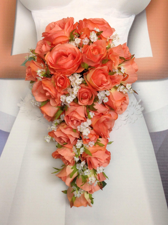 New Artificial Coral Reef Wedding Teardrop Bouquet, Baby\'s Breath ...