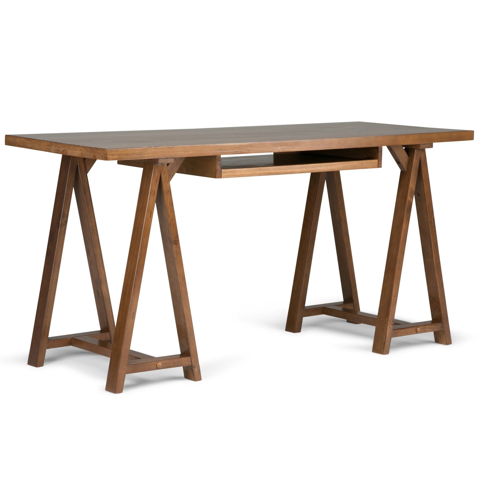 Sawhorse Writing Desk with Integrated Keyboard Tray wood