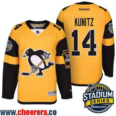 Men's Pittsburgh Penguins #14 Chris Kunitz Yellow Stadium Series 2017 Stanley Cup Finals Patch Stitched NHL Reebok Hockey Jerse