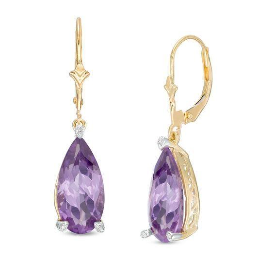 Zales Oval Amethyst and Diamond Accent Pear-Shaped Drop Earrings in Sterling Silver ZIRZ5ttG