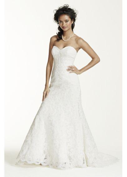 b380546d59bc Oleg Cassini Strapless Lace Trumpet Wedding Dress CRL277. Visit. Saved by. David's  Bridal
