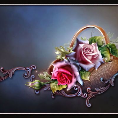 Пазл онлайн: Корзина с розами | Розы, Круглая картина и ...