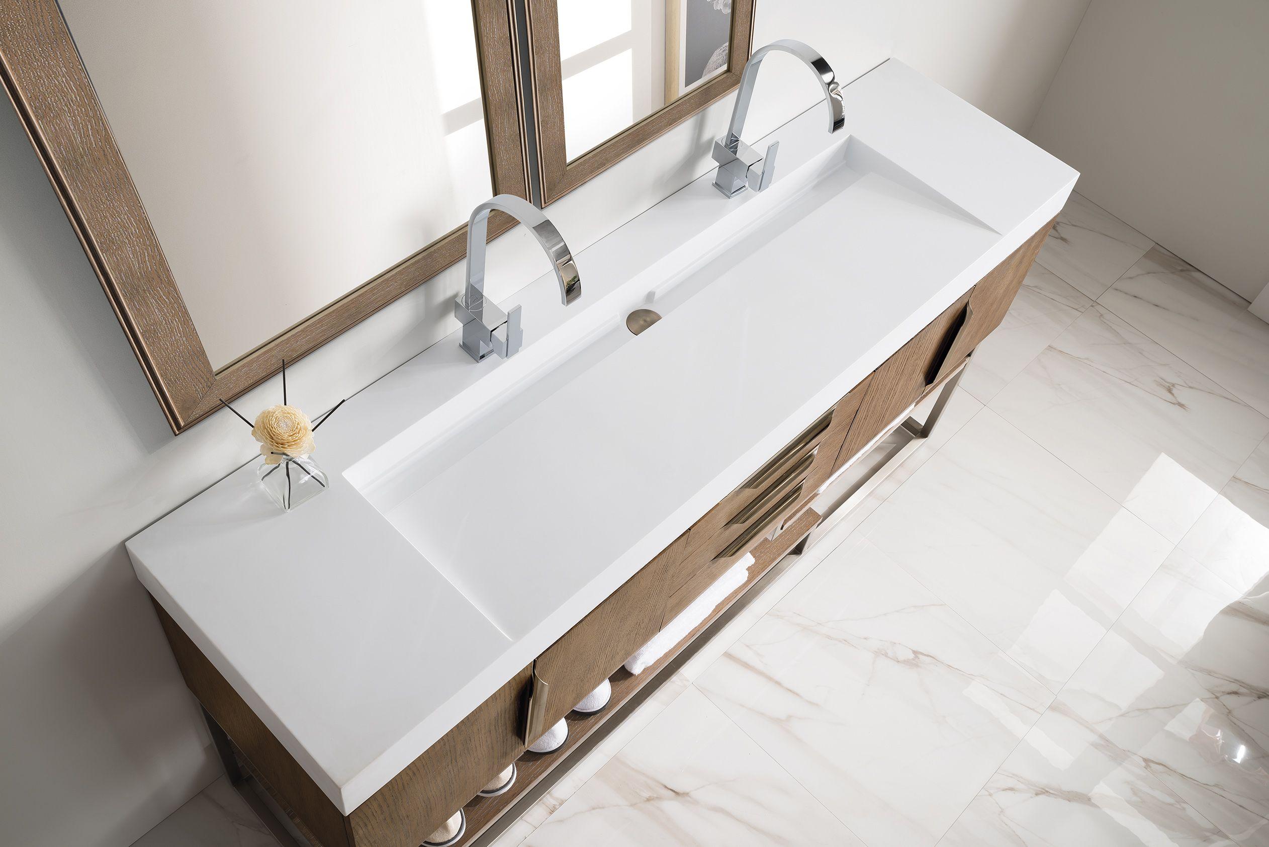 Columbia 72 Double Sink Bathroom Vanity Cabinet Latte Oak Finish White Solid Surface Inte Single Bathroom Vanity Double Vanity Single Sink Bathroom Vanity
