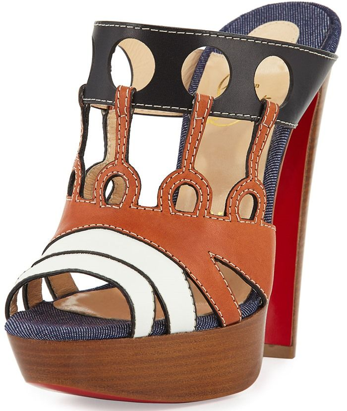 Christian Louboutin Leather Cutout 140mm Red Sole Sandal