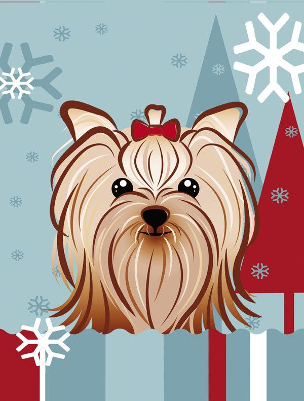 Winter Holiday Yorkie Yorkishire Terrier 2-Sided Garden Flag