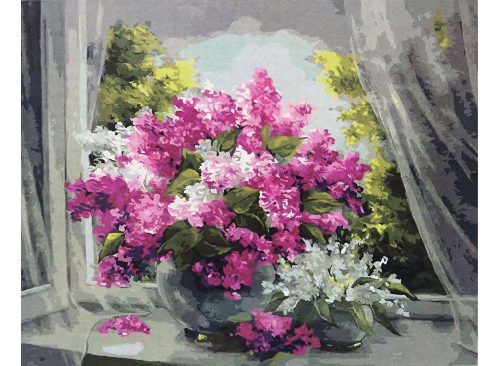 Картина по номерам «Сирень на окне» | Цветочные картины ...