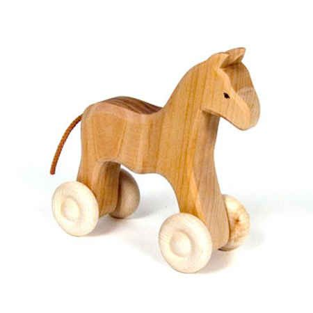 A wonderful traditional toy forChildren A beautiful, natural wood horse on…
