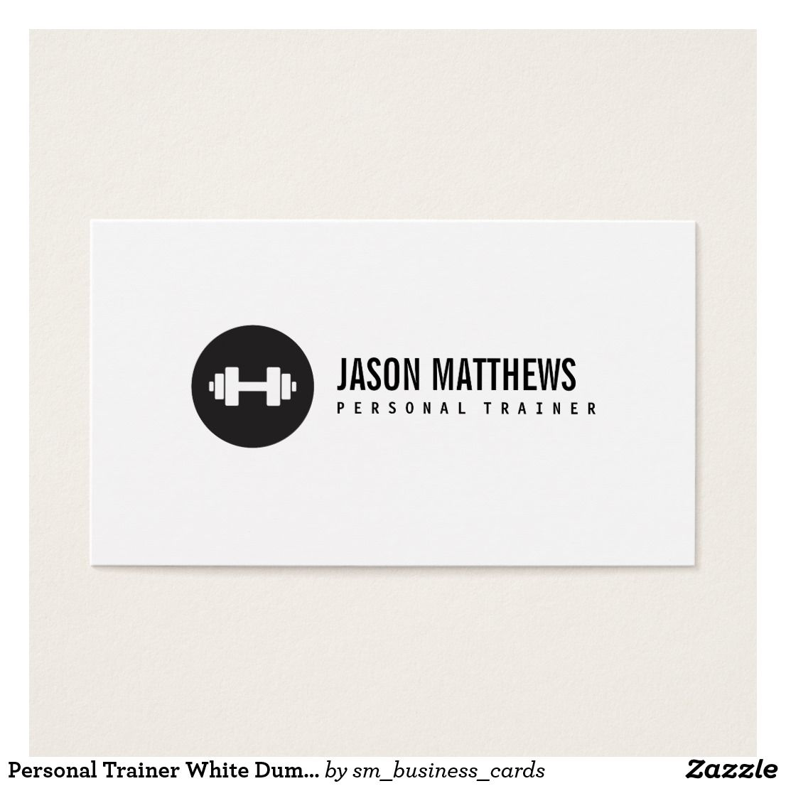 Personal Trainer White Dumbbell Logo Fitness Business Card ...