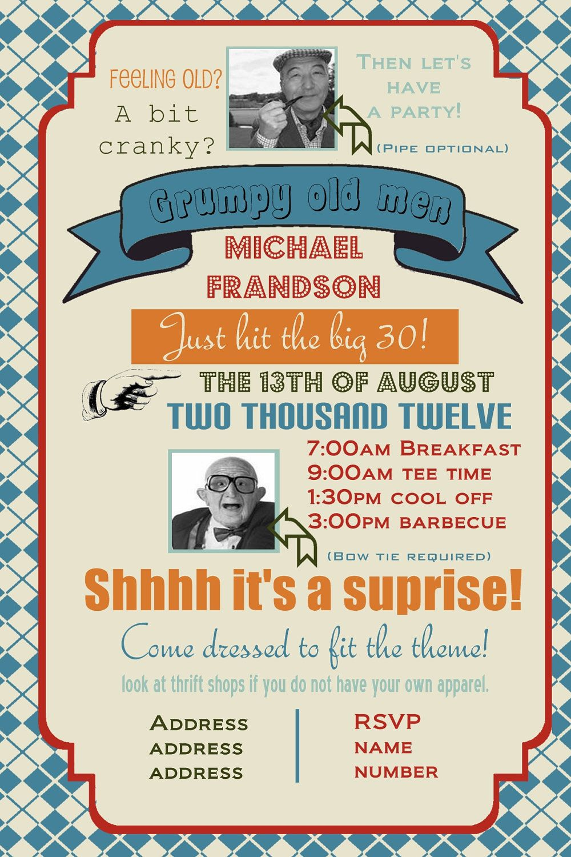 Grumpy old men birthday party invitation (you print)  $14 00