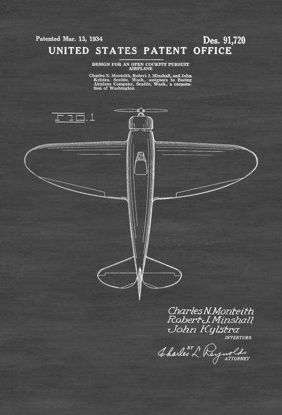 Boeing Open Cockpit Pursuit Plane Patent 1934 - Pilot Gift Aviation - copy plane blueprint wall art