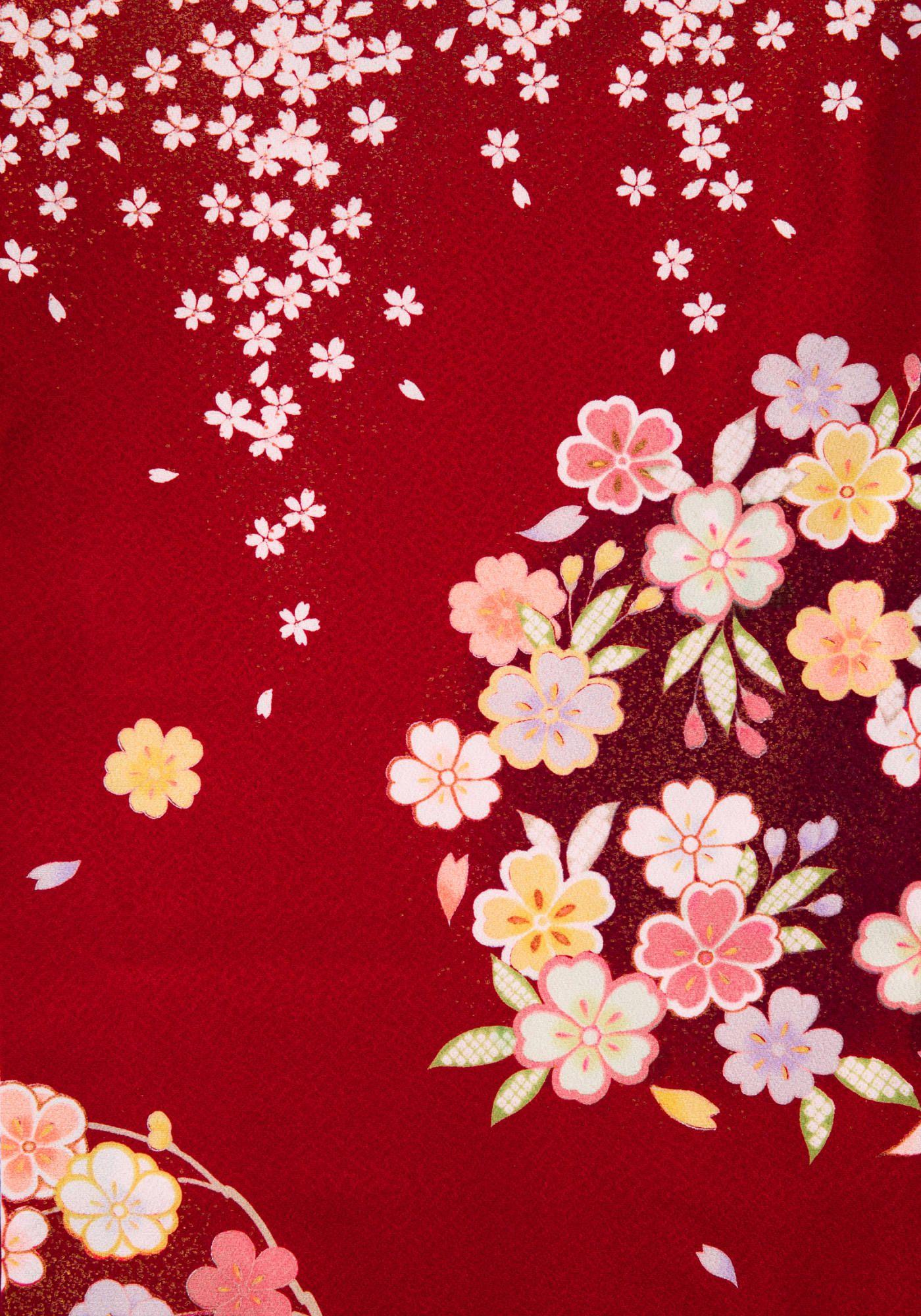 着物 No 735 商品名 赤 花小桜 画像あり 和柄 壁紙 和