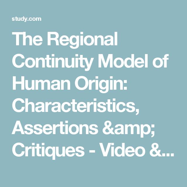 regional continuity model