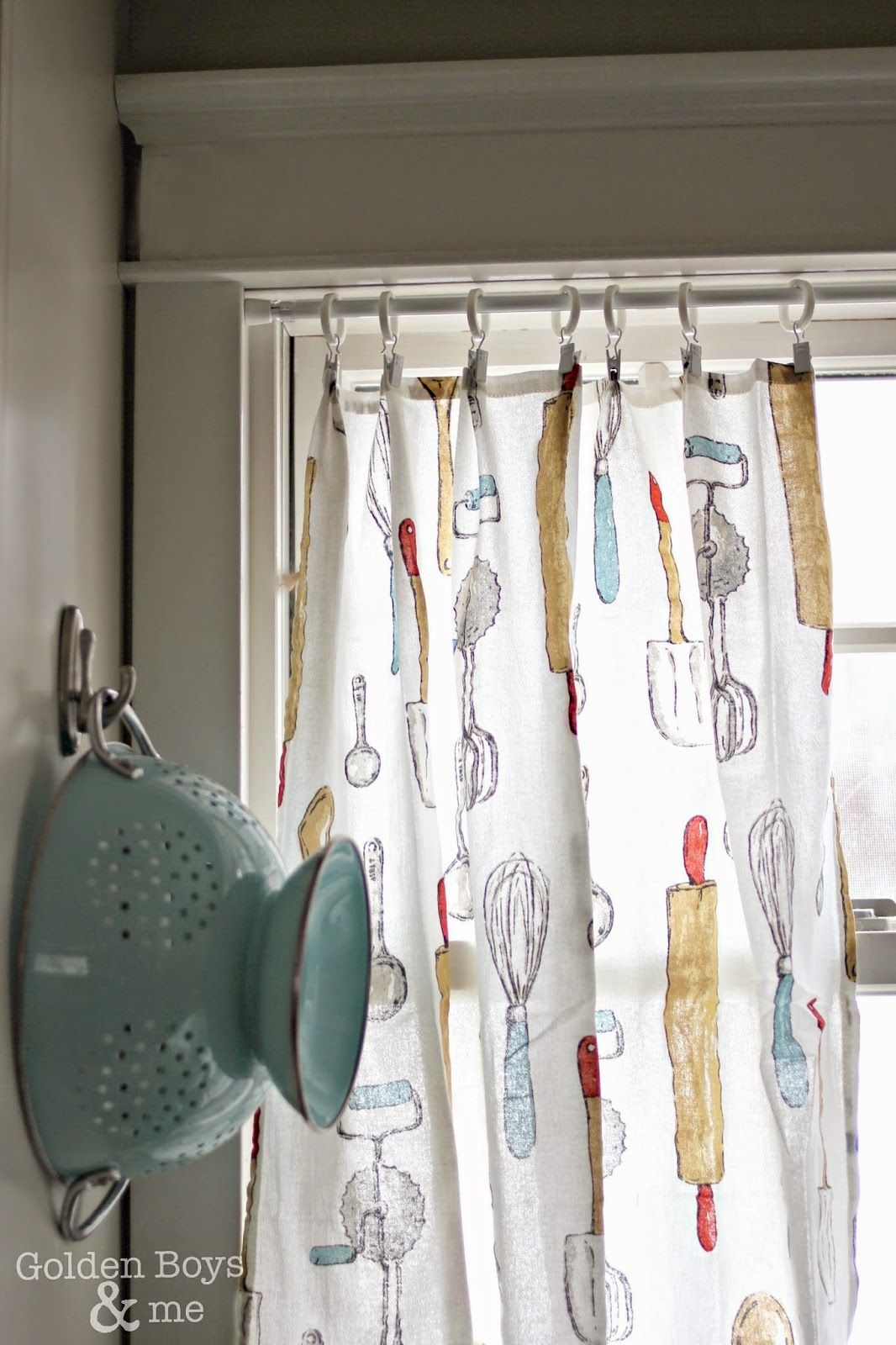 Kitchen Dish Towels Turned Kitchen Curtains | Diy curtains, Towels ...