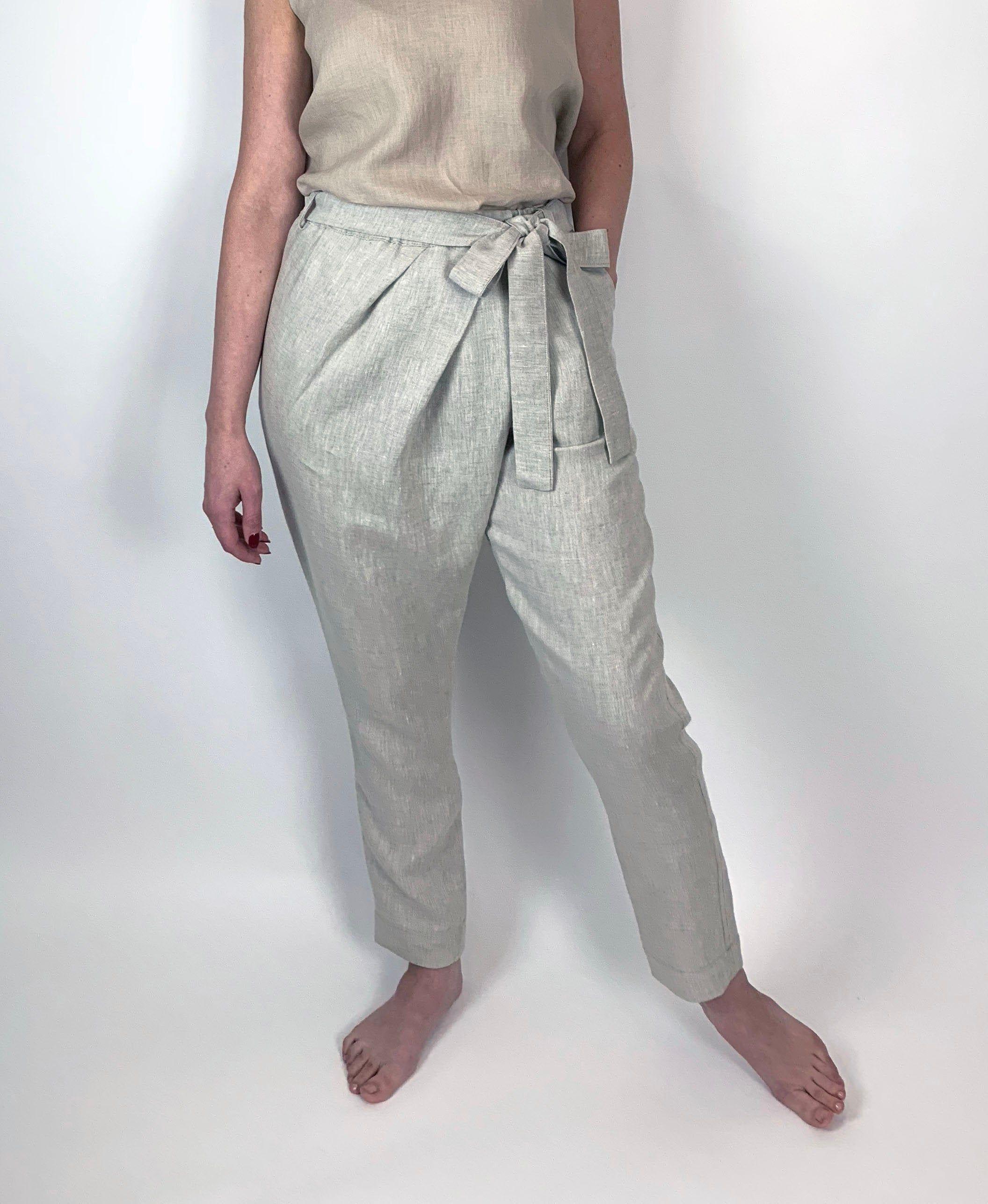 Linen pants minimalist cream relaxed fit summer straight leg XLXXL