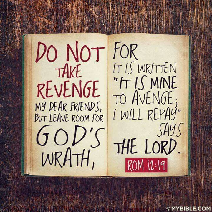 Bible Quotes Revenge: Do Not Take Revenge, It Is God's Job To Judge. We Just