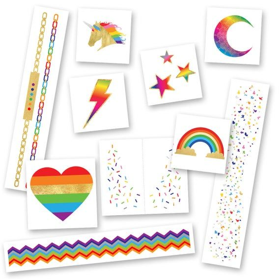 Super Rainbow Variety Set of 50 assorted colorful Flash Tattoos, metallic temporary jewelry pre-cut