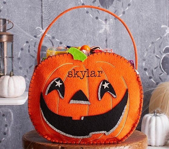 halloween costumes for kids pumpkin treat bag from pottery barn personalize with name - Pinterest Halloween Treat Bags