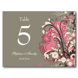pink and gray weddings - table numbers