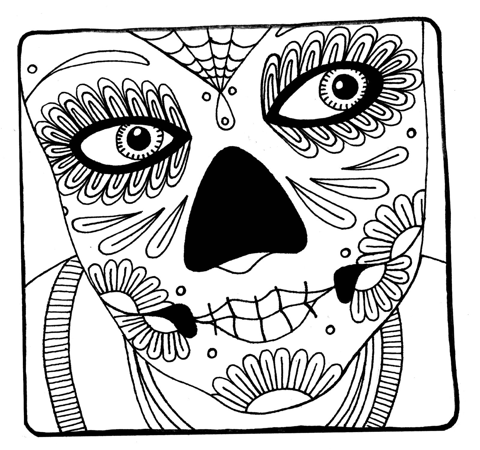 Coloring pictures skulls - Halloween Printable Dia De Los Muertos Sugar Skull Coloring Page Could Be A Cute Tattoo