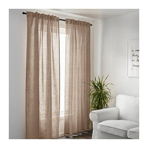 aina curtains, 1 pair, beige | dark furniture, room and bedrooms