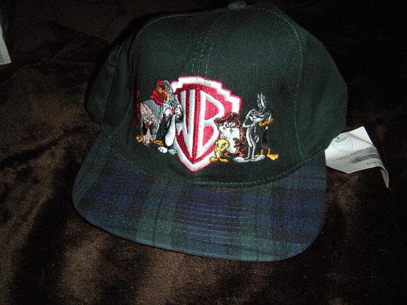 a0930537c9482 Vintage WB Looney Tunes Plaid Snap Back Snapback Hat Cap 80s 90s Rare Retro  Cartoon Taz Bugs Bunny T
