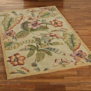 Flora Tropic Wool Tropical Floral Area Rugs