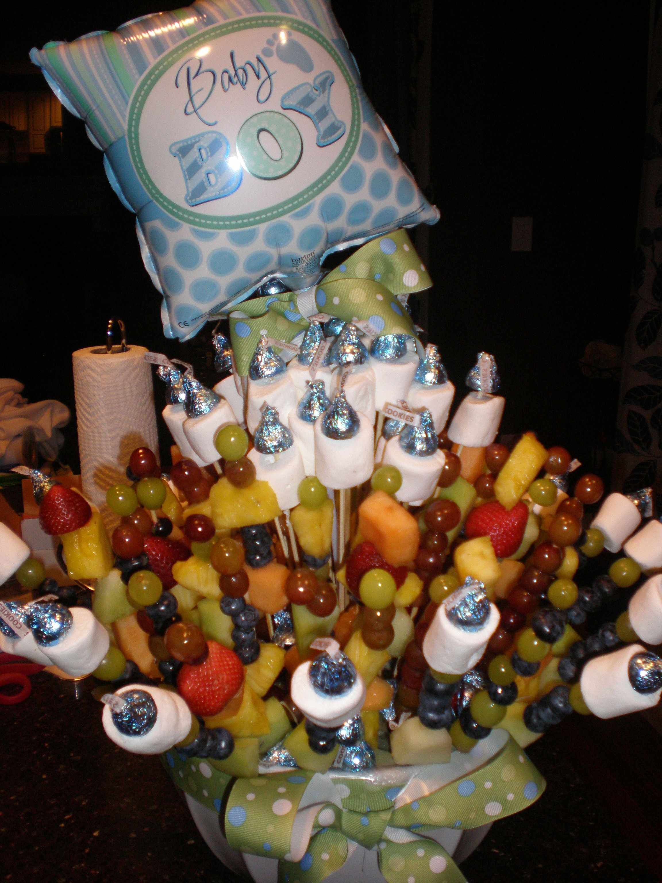 Edible Arrangements Diy For Boy Baby Shower Used Marshmallow And