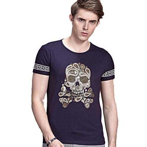 Minibee Men's Fashion T Shirts Skull Print Top Cotton Shirts Navy Blue-M Minibee http://www.amazon.com/dp/B00YO7LA1I/ref=cm_sw_r_pi_dp_.YqBvb12ESFP0
