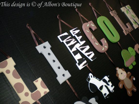 6 letter name -individually hanging block letters with adorable