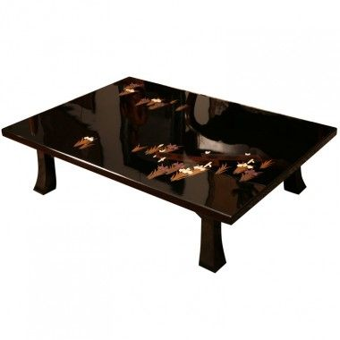 Japanese Black Lacquered Low Cocktail Table Iris Design With