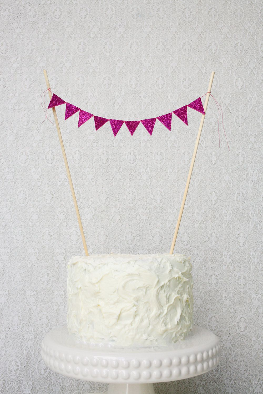 Cake bunting fuchsia glitter single sided por janeelookerse us