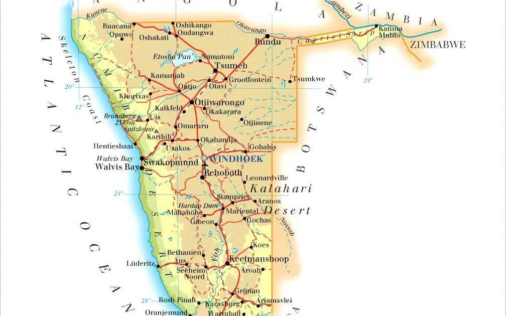 كم يبلغ عدد سكان جمهورية بوتسوانا Namibia Map Swakopmund