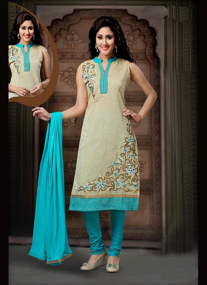 Latest indian wedding salwar kameez for women. Shop this art silk blue readymade suit.