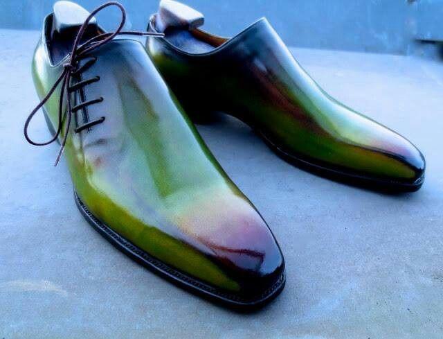 Custom patina men's dress shoes