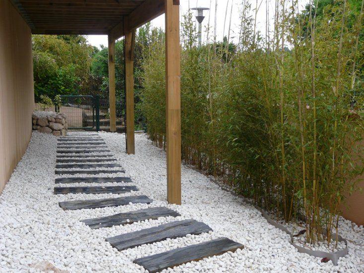 Accès maison moderne par dalle de pierre noire sur cailloux et rail - gravier autour de la maison