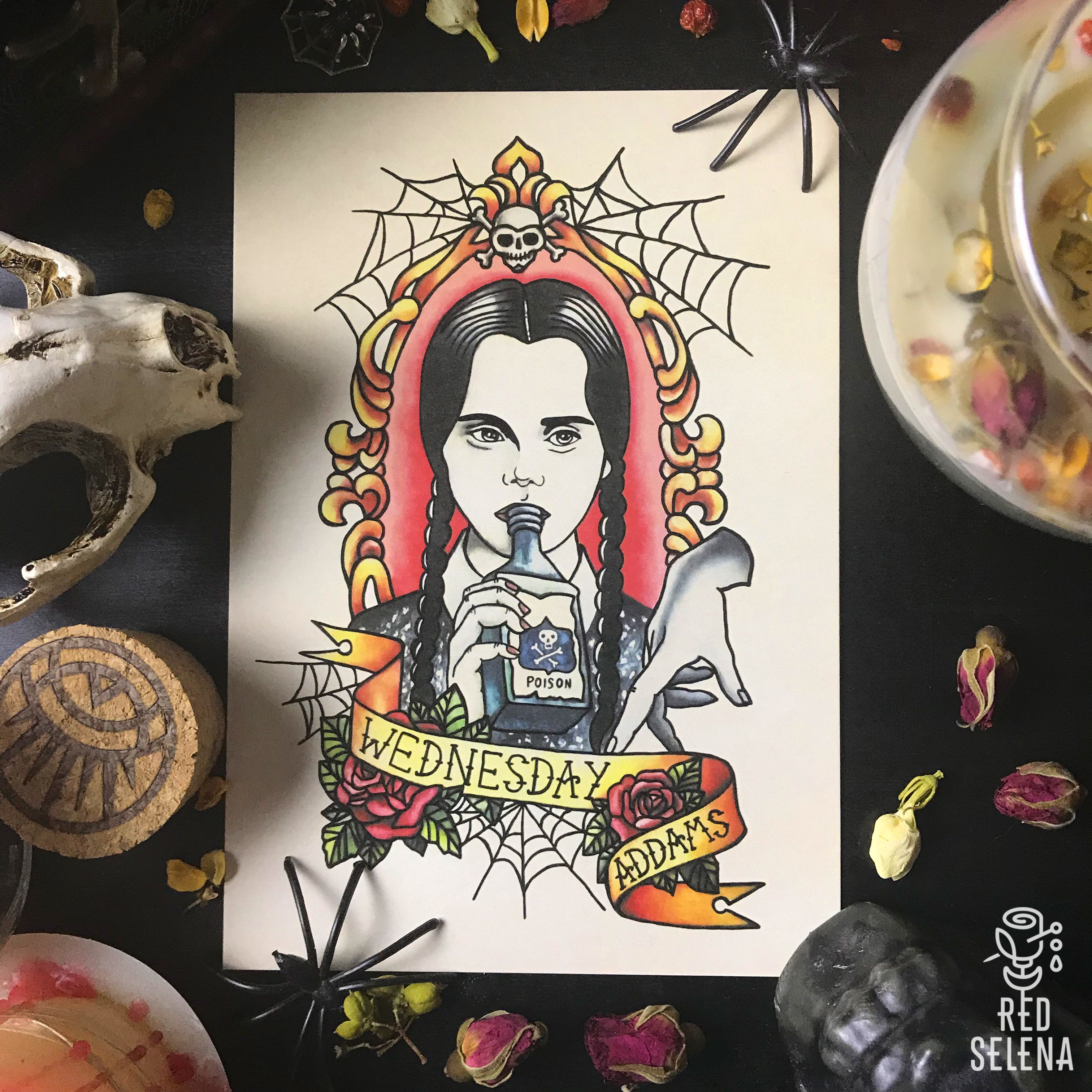 Addams Family Postcards Wednesday Morticia Prints Horror Art Oldschool Newschool Tattoo Flash