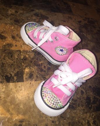0b6441e2d032 Bedazzled bling all star chuck taylors converse. Pink converse  iridescent  rhinestones. Kids