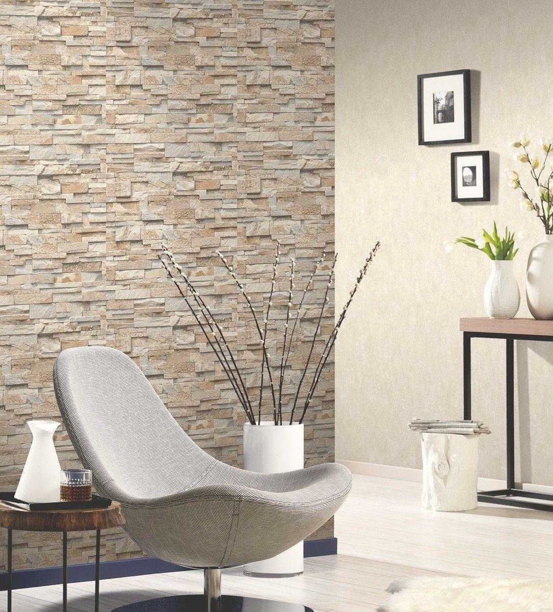 Vliestapete Stein 3d Optik Beige Grau Mauer 02363 10 3dwallpaperinterior Beige Grau Mau In 2020 Stone Wall Design Brick Effect Wallpaper Stone Walls Interior
