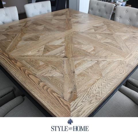 Elenora Parquet Square 8 Seat Dining Table Style My Home